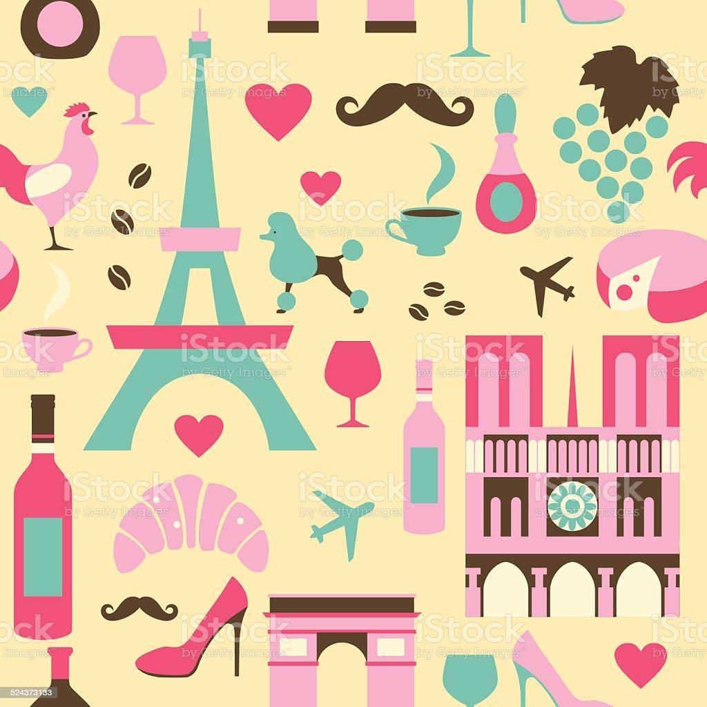 France symbols seamless background vector art illustration