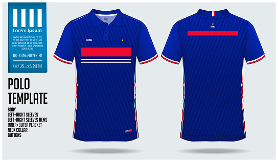 France Team Polo t-shirt sport template design for soccer jersey, football kit or sportwear. Classic collar sport uniform in front view and back view. T-shirt mock up for sport club.