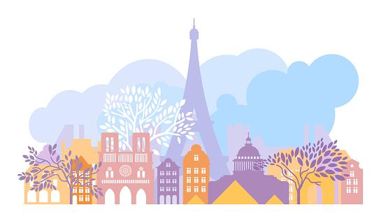 France, the city of Paris. The architecture of the city. Eiffel Tower, Notre Dame de Paris cathedral, Louvre, triumphal arch, pantheon. Vector illustration.