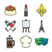 France Thin Line Icon Set