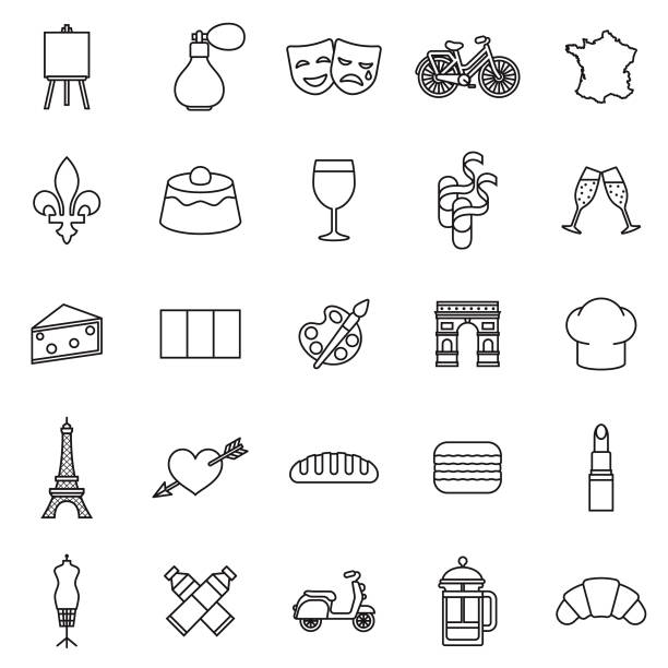 France Thin Line Outline Icon Set A group of 25 black and white thin line icons. File is built in the CMYK color space for optimal printing, with 100% black and white swatches. Icons are grouped and easy to isolate. paris black and white stock illustrations