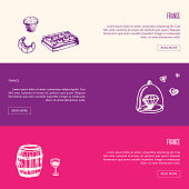 France romantic touristic banners. Bakery and chocolate, beautiful jewelery, barrel of wine with glass hand drawn with vector illustrations on colored backgrounds. For travel company web page design