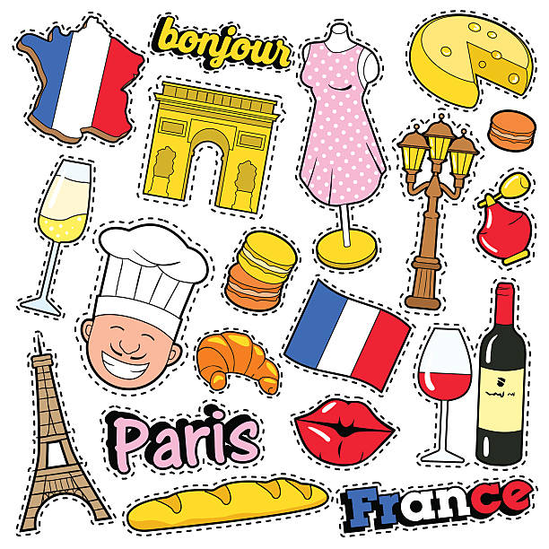 France Travel Scrapbook Stickers, Patches, Badges vector art illustration