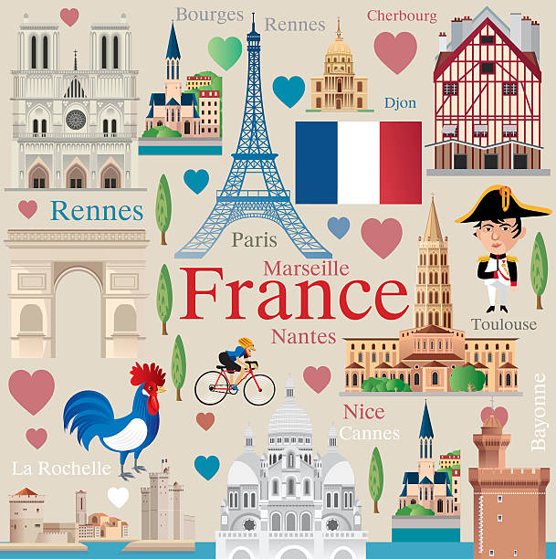 France travel vector art illustration