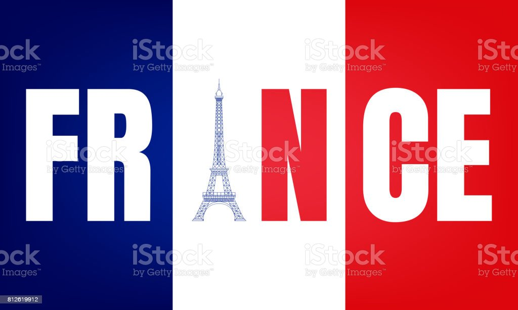france typography symbol flag of france and eiffel tower template