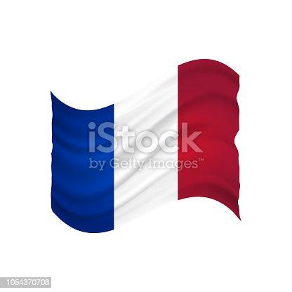 istock France undulating flag vector (drapeau france) 1054370708