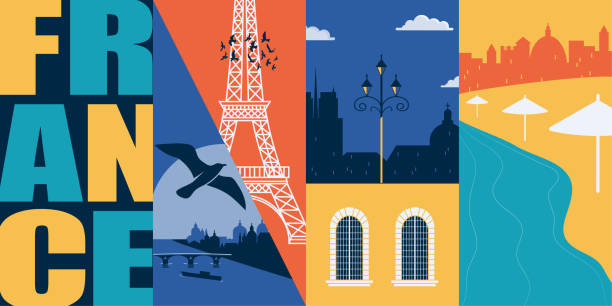France vector banner, illustration. City skyline, historical buildings in modern flat design style France vector banner, illustration. City skyline, historical buildings in modern flat design style. French ancient landmarks in Paris and other areas seine river stock illustrations