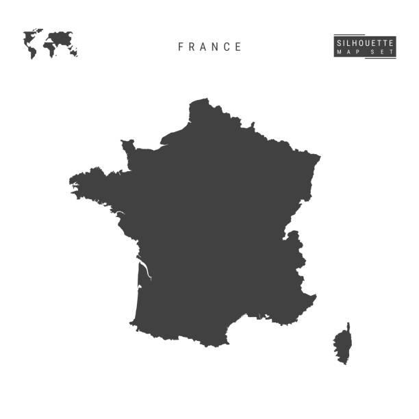 francja vector mapa izolowane na białym tle. wysoka szczegółowa czarna sylwetka mapa francji - francja stock illustrations