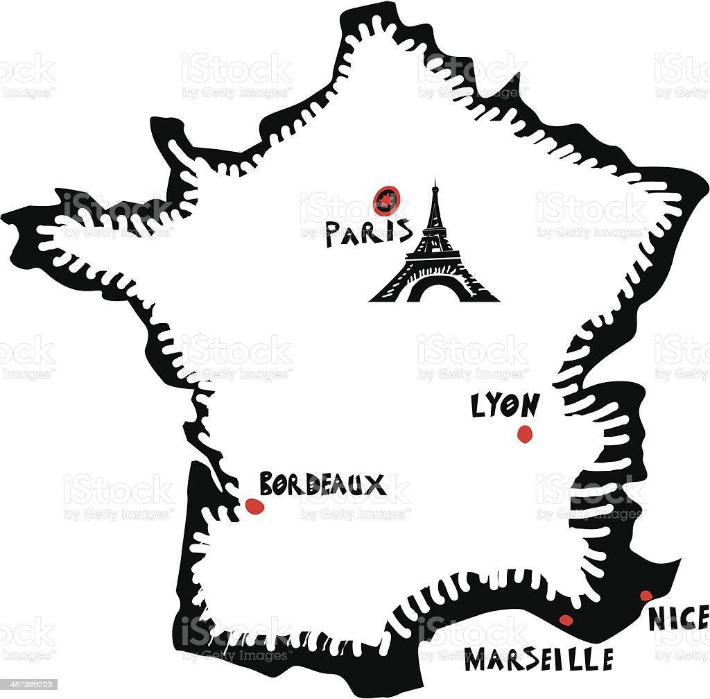 France, vecteur de la carte - Illustration vectorielle