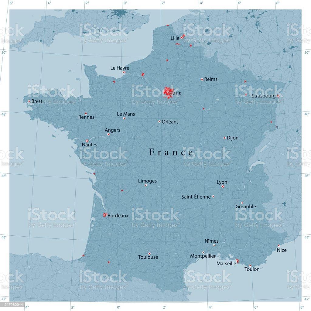 France Carte de vecteur Route - Illustration vectorielle