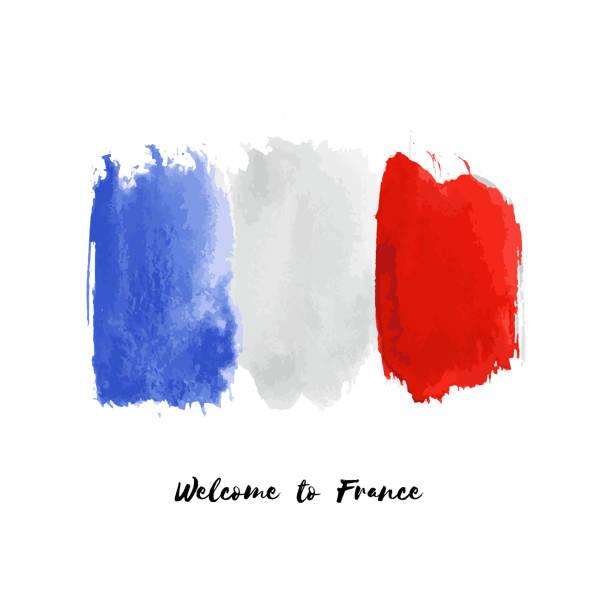 illustrations, cliparts, dessins animés et icônes de icône de drapeau de pays national watercolor de vecteur de france. - france