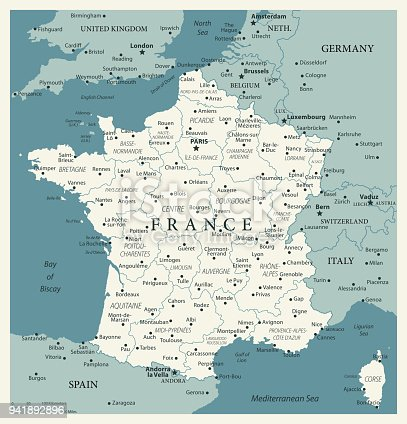 Map of France - Vintage Vector illustration