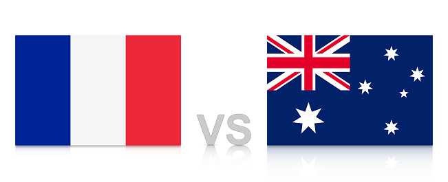 France vs. Australia. Russia 2018. National flags with reflection isolated on white background.
