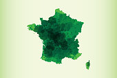 France watercolor map vector illustration of green color on light background using paint brush in paper