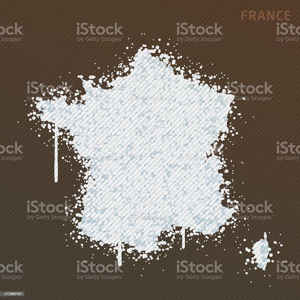 France White Paint Graffiti Map Grunge royalty-free stock vector art