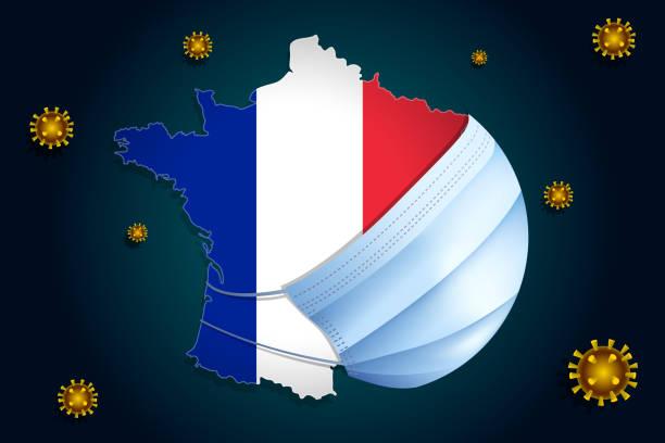 illustrations, cliparts, dessins animés et icônes de la france avec français drapeau dans un masque médical se protège du coronavirus ncov - virus coronaire - covid france