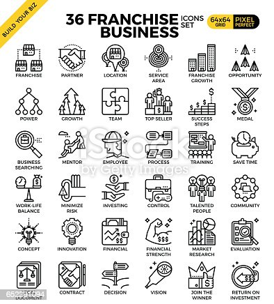 Franchise business outline icons modern style for website or print illustration
