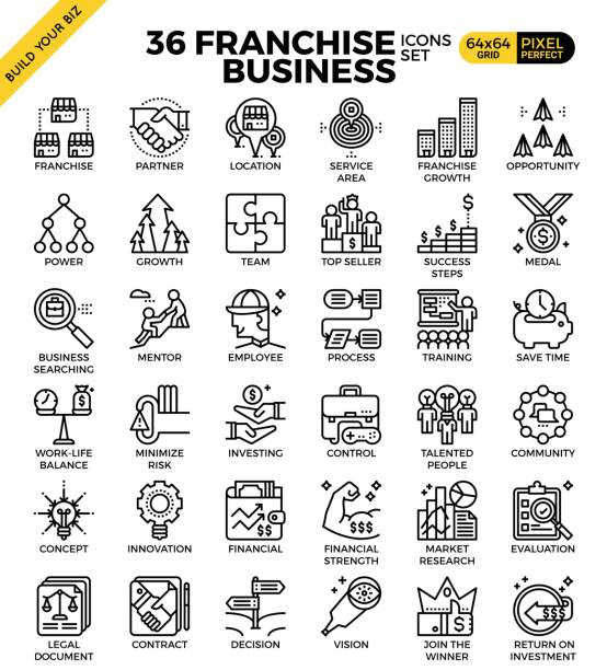 Franchise business icons vector art illustration