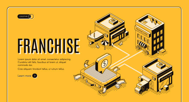 Franchise business start isometric vector website vector art illustration
