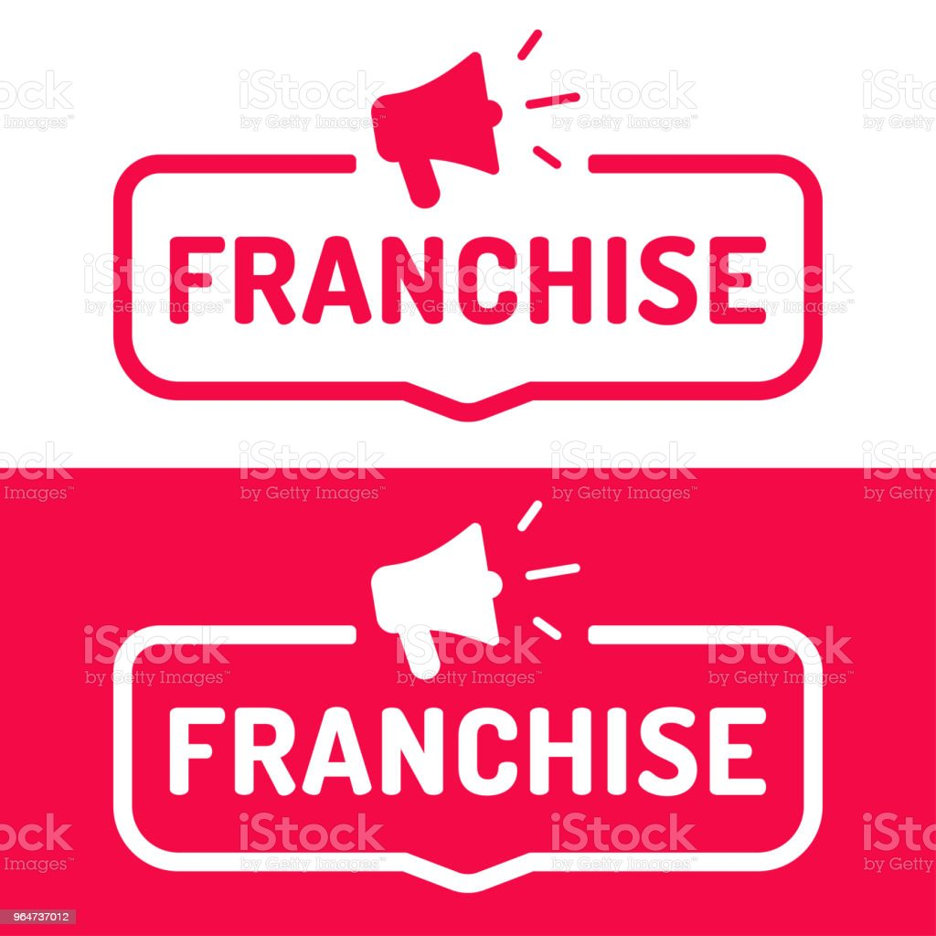 Franchise. Flat vector illustration on white and red background. royalty-free franchise flat vector illustration on white and red background stock illustration - download image now