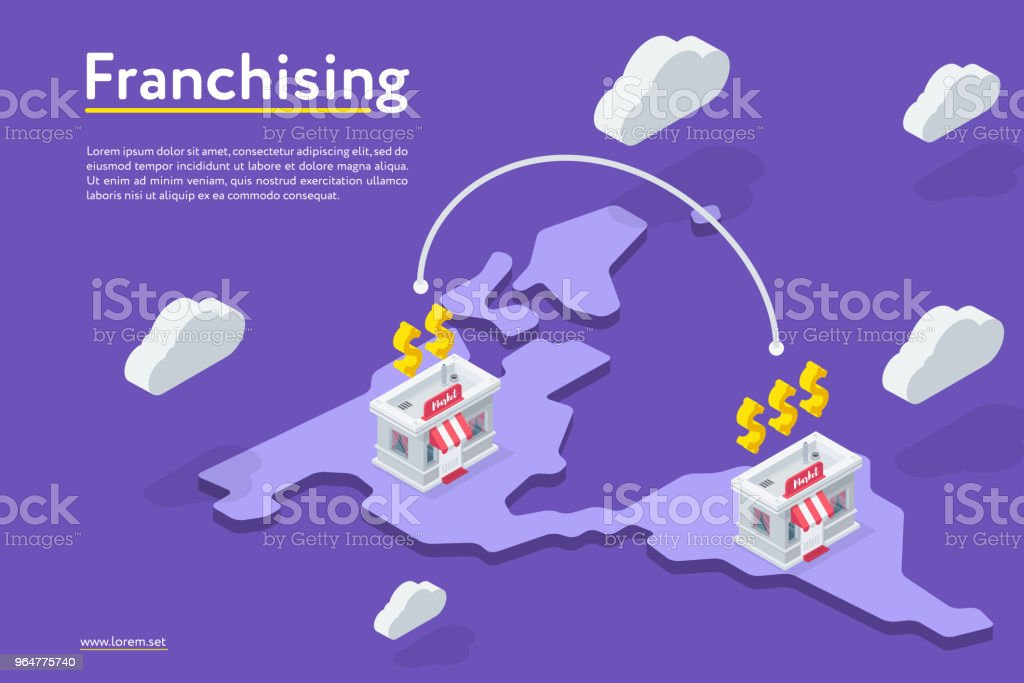 Franchising stores on the map royalty-free franchising stores on the map stock illustration - download image now