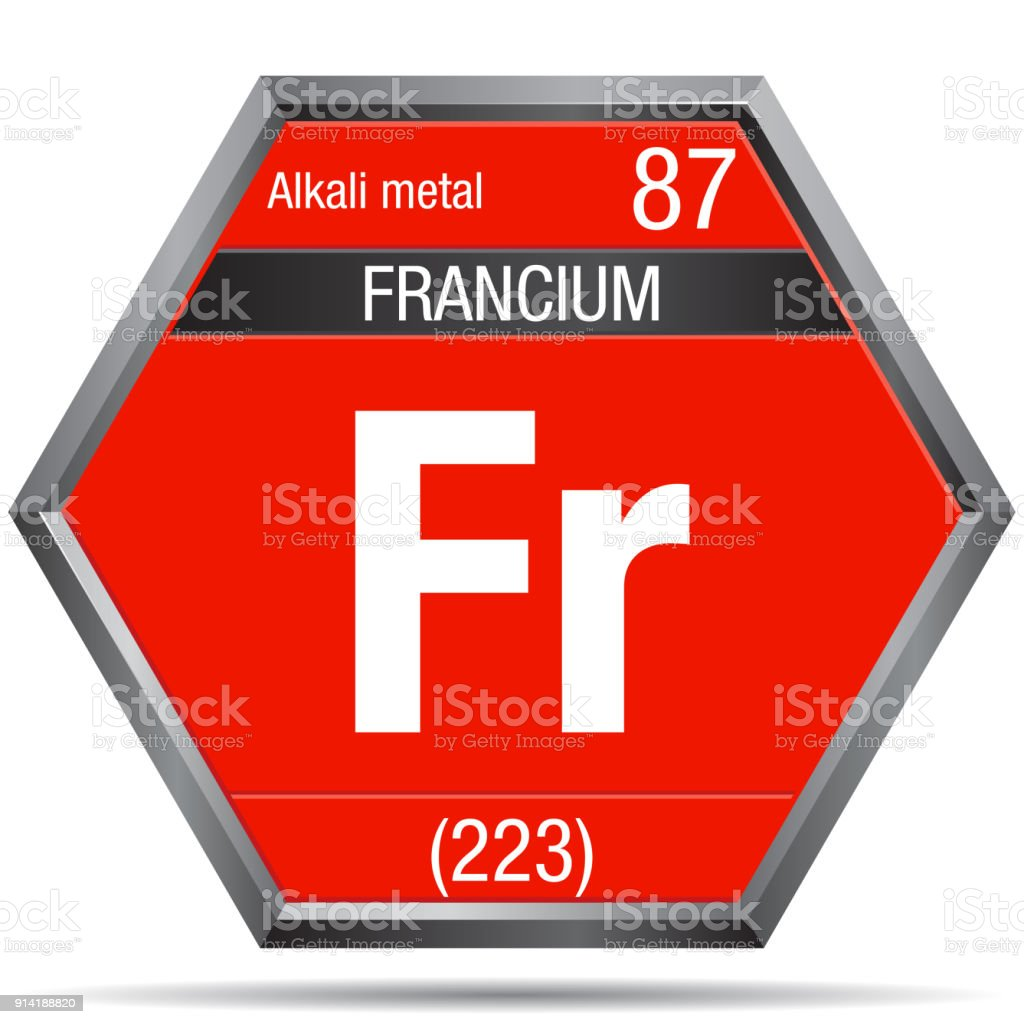 Francium Symbol In The Form Of A Hexagon With A Metallic Frame