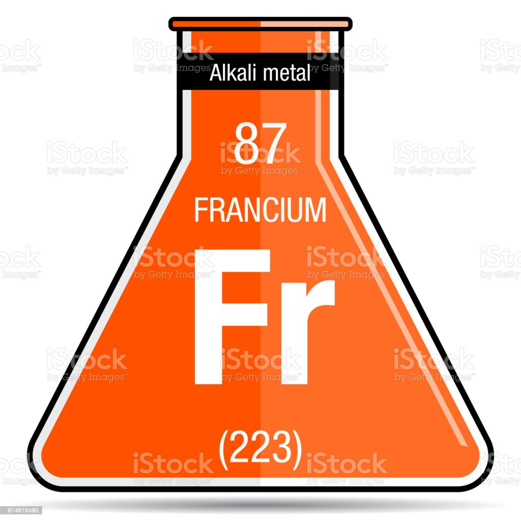 Francium Symbol On Chemical Flask Element Number 87 Of The Periodic