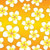 Seamless tile of vector frangipani flowers. Flowers can be used individually if needed.