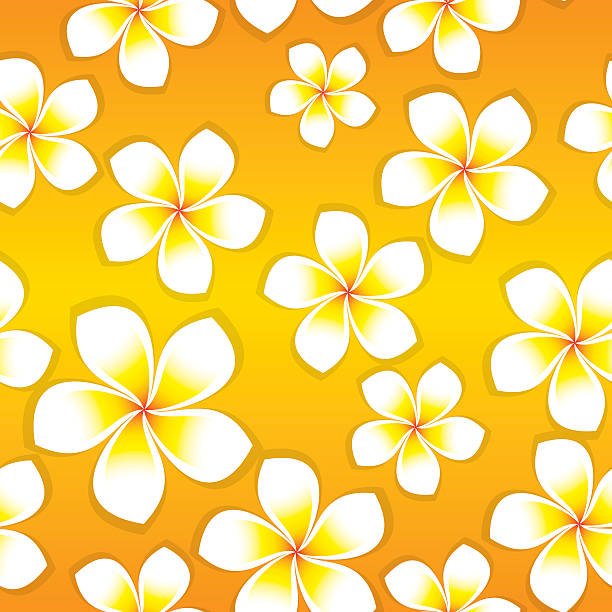 Frangipani Flowers - Seamless Tile Seamless tile of vector frangipani flowers. Flowers can be used individually if needed. frangipani stock illustrations