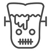 Frank man line icon. Scary monster with sliced head. Halloween party vector design concept, outline style pictogram on white background
