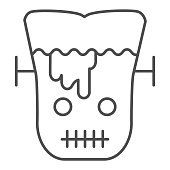 Frank man thin line icon. Scary monster with sliced head. Halloween party vector design concept, outline style pictogram on white background