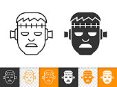 Frankenstein Head black linear and silhouette icons. Thin line sign of zombie face. Halloween Monster outline pictogram isolated on white, transparent. Vector Icon shape. Zombi simple symbol closeup