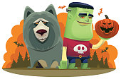 vector illustration of young frankenstein kid with wolf and pumpkin