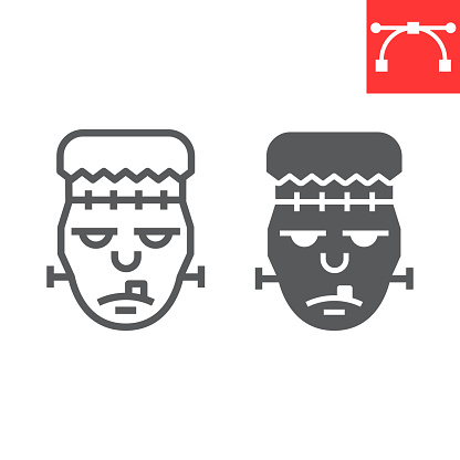 Frankenstein line and glyph icon, halloween and scary, zombie sign vector graphics, editable stroke linear icon, eps 10.