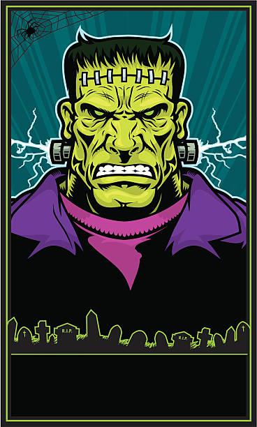 frankenstein monster-poster - frankenstein stock-grafiken, -clipart, -cartoons und -symbole
