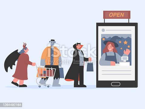 istock Frankenstein with friend includes vampire and devil with bat wings in a queue in the front of smartphone with cashier inside. Shopping online in Halloween of devil group. 1264492164