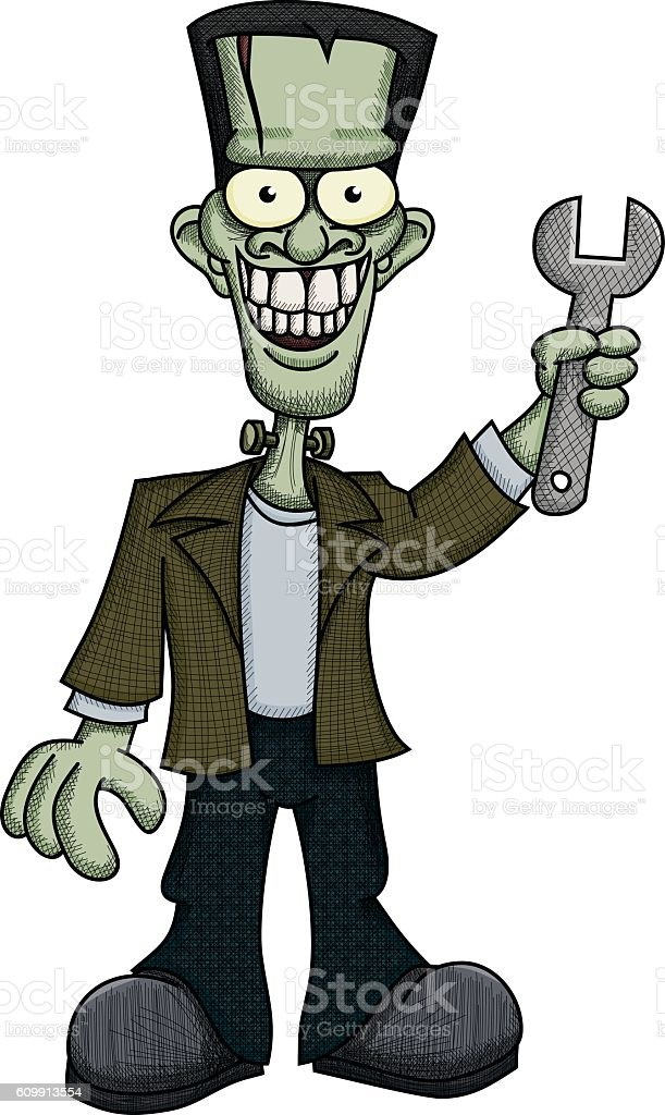 Frankenstein with Wrench royalty-free frankenstein with wrench stock vector art & more images of cartoon