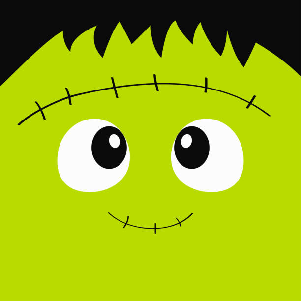 frankenstein zombie monster square face icon. happy halloween. cute cartoon funny spooky baby character. green head. greeting card. flat design. white background. - frankenstein stock illustrations