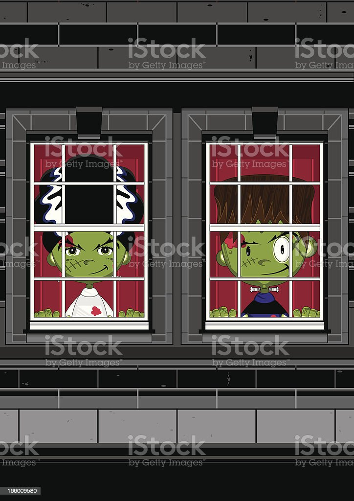 Frankensteins Monsters at Window royalty-free stock vector art