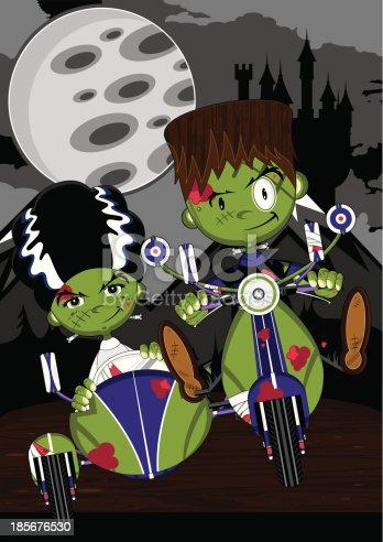 istock Frankensteins Monsters on Scooter 185676530