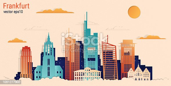 Frankfurt am Main city colorful paper cut style, vector stock illustration. Cityscape with all famous buildings. Skyline Frankfurt city composition for design