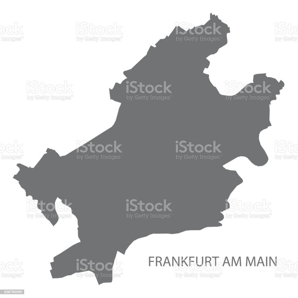 Frankfurt Am Main City Map With Boroughs Grey Illustration - Germany map shape