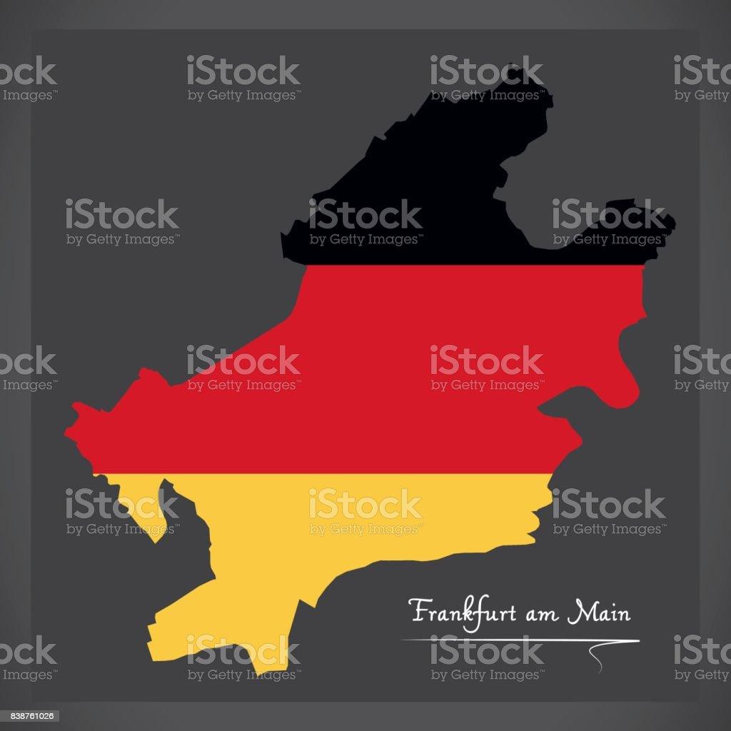 Frankfurt Karte Europa.Frankfurt Am Main Karte Mit Deutschen Nationalflagge Illustration