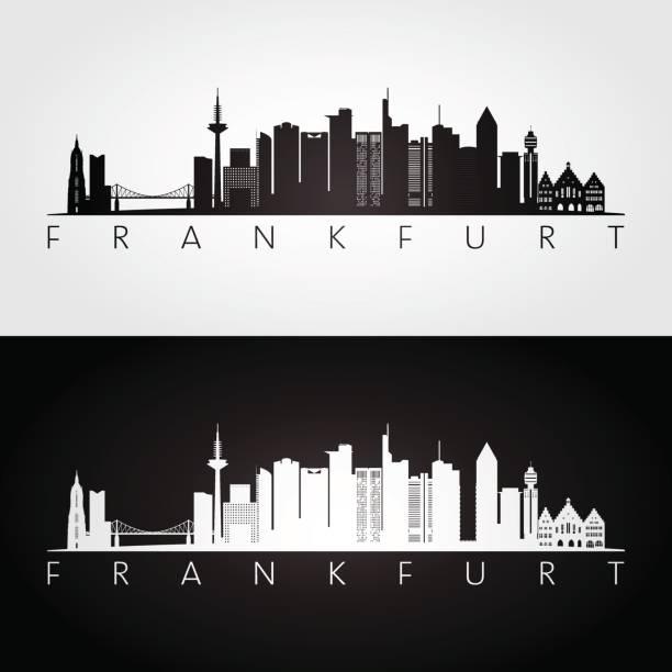 Frankfurt skyline and landmarks silhouette, black and white design, vector illustration. Frankfurt skyline and landmarks silhouette, black and white design, vector illustration. airport silhouettes stock illustrations