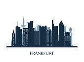 Frankfurt skyline, monochrome silhouette. Vector illustration.