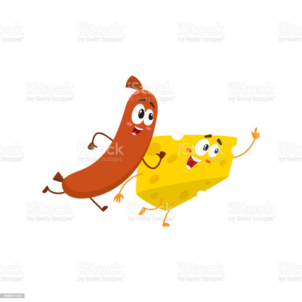 Frankfurter sausage and cheese chunk characters running, hurrying somewhere together royalty-free frankfurter sausage and cheese chunk characters running hurrying somewhere together stock vector art & more images of appetizer