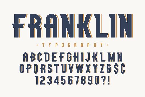 Franklin trendy vintage display font design, alphabet
