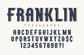 Franklin trendy vintage display font design, alphabet, typeface, letters and numbers, typography. Vector characters