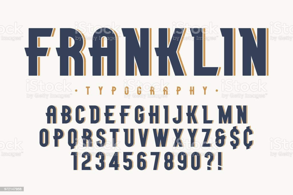 Franklin trendy vintage display font design, alphabet vector art illustration
