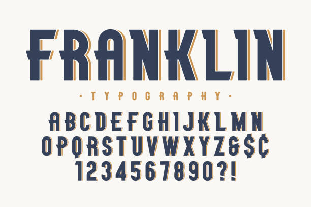 Franklin trendy vintage display font design, alphabet Franklin trendy vintage display font design, alphabet, typeface, letters and numbers, typography. Vector characters beer stock illustrations